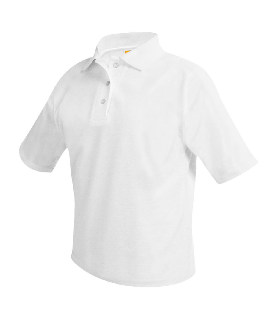 Pique Polo, White, Short Sleeve EMB-ARC – Size Youth XXS – S