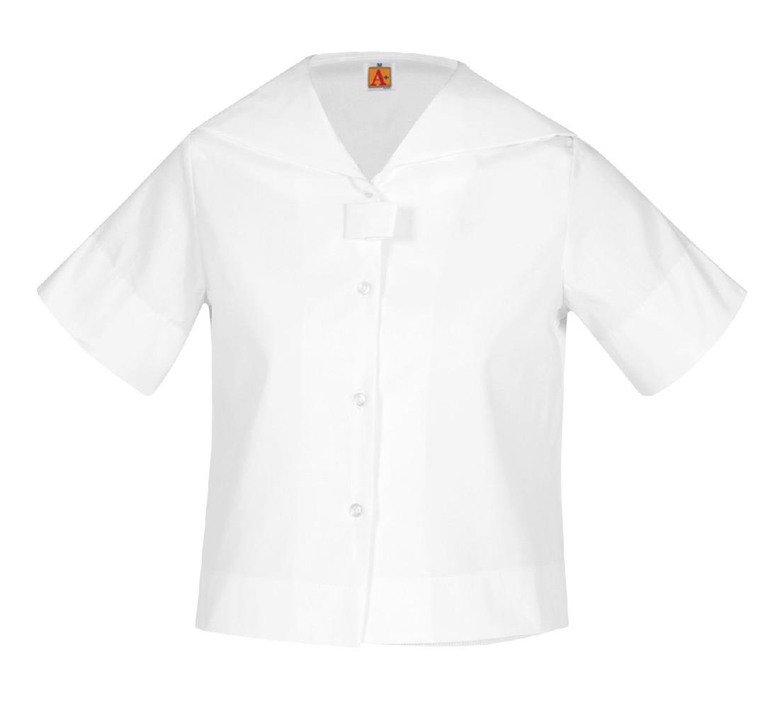 Blouse-White, Middy Short Sleeve, Sizes 3-16 Girls