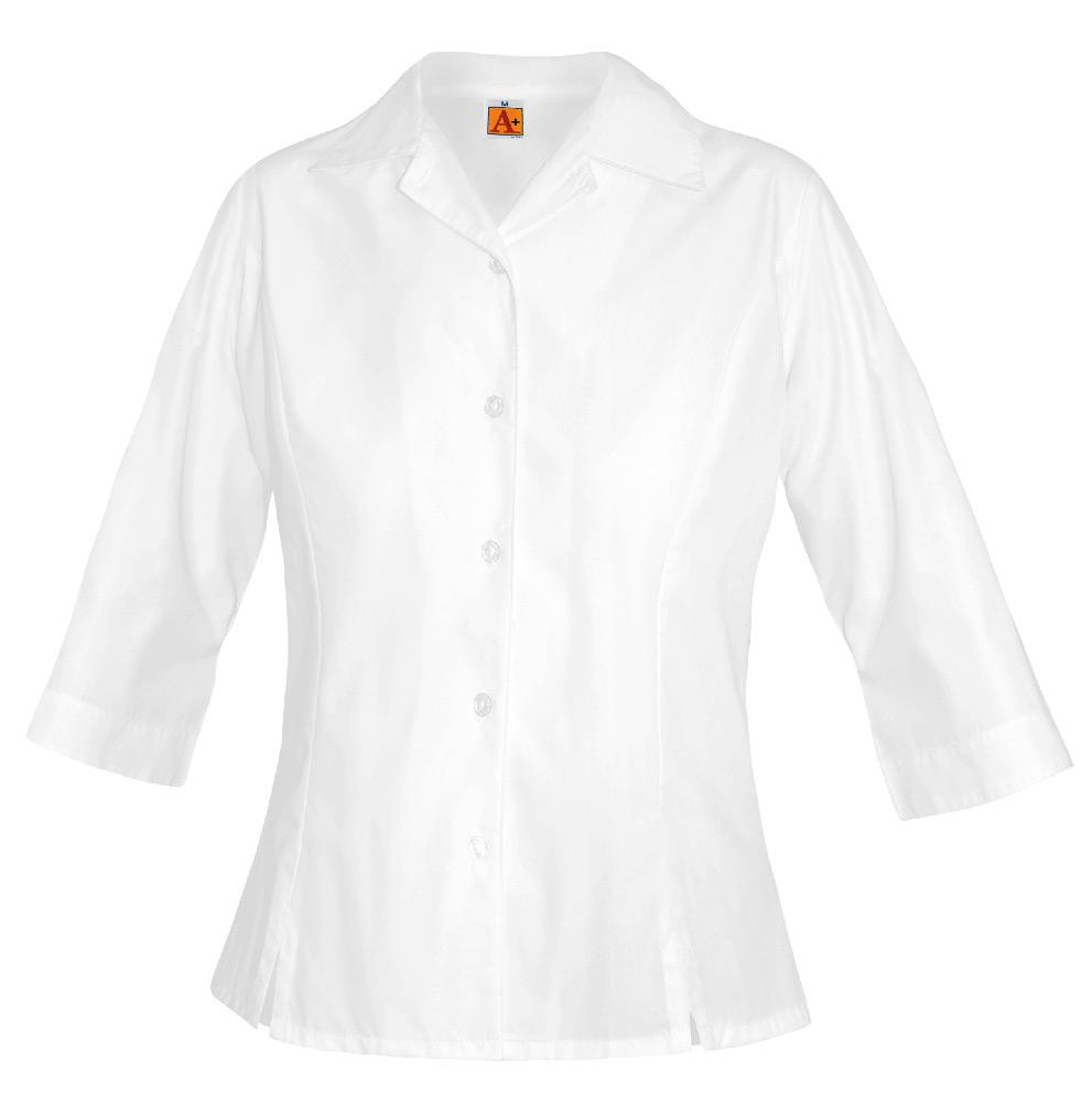 Blouse – White ¾ Sleeve – Size Ladies XS-3XL