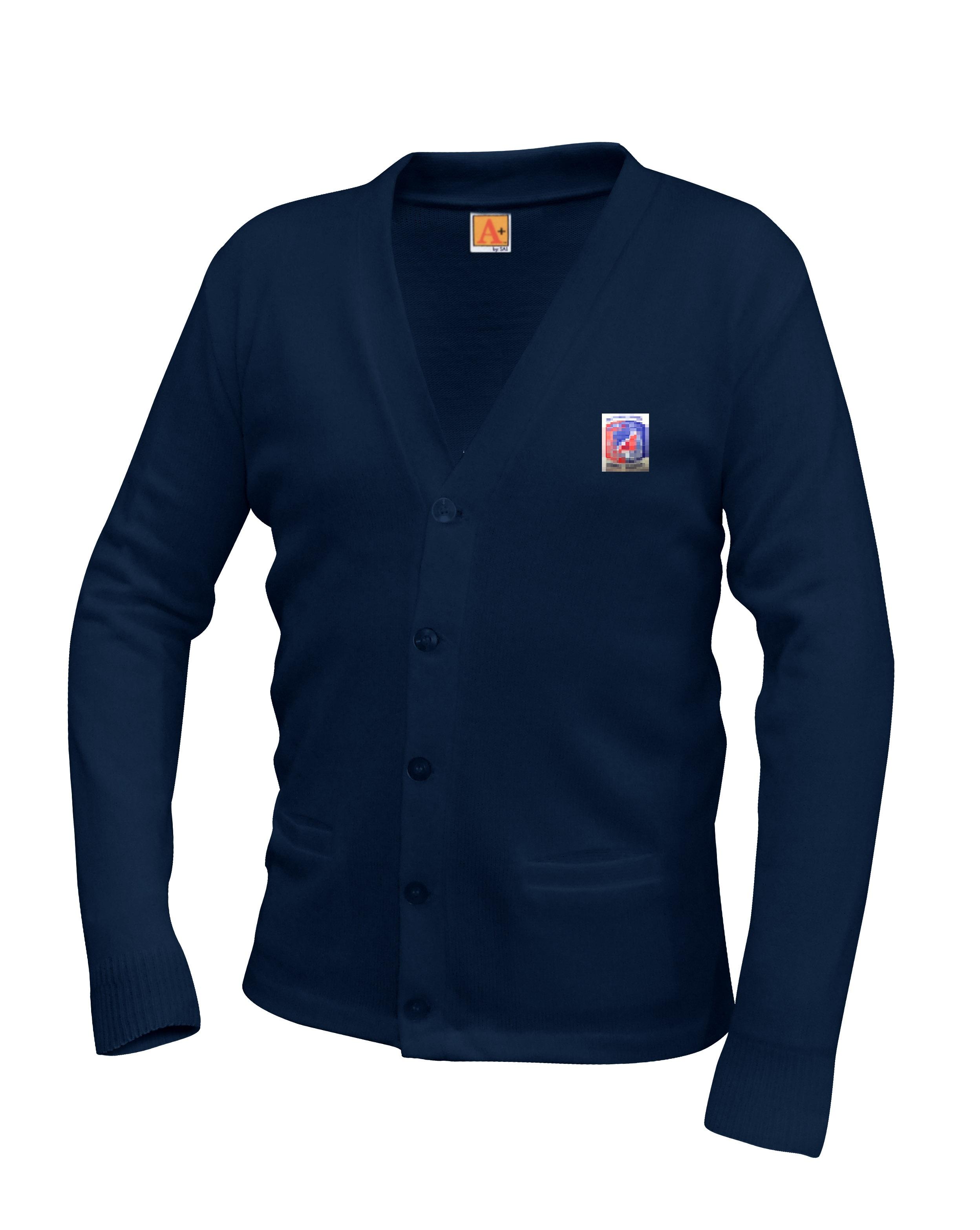 Cardigan Sweater Navy, EMB-ARC – Size Youth XXS – XL