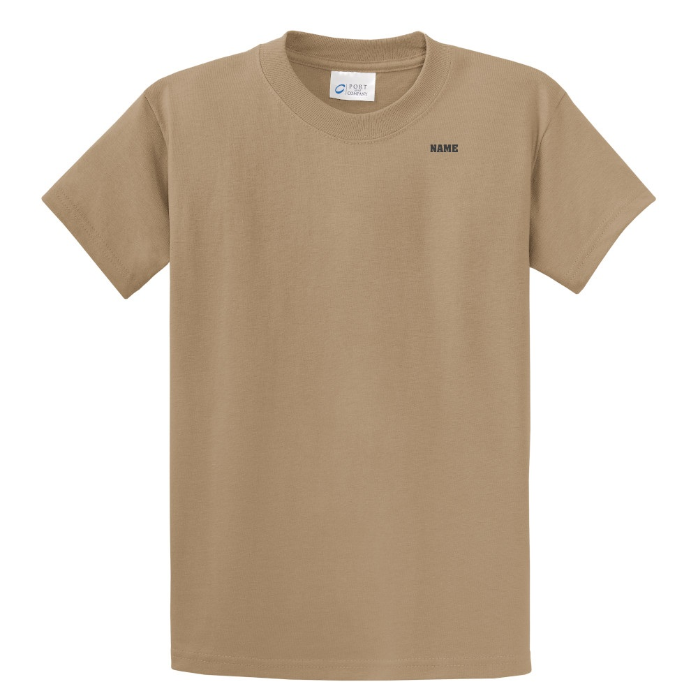 Poly/Cotton Printed T – WITH NAME, Short Sleeve, Tan, Adult